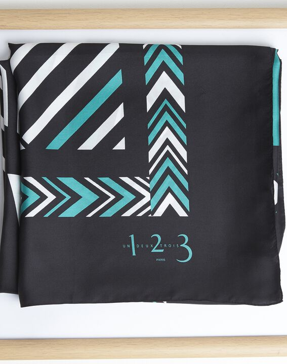 Amadeus blue graphic printed square scarf in silk (1) - 1-2-3