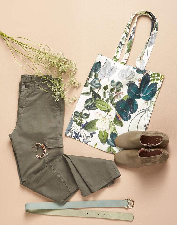 Ecru tote bag with flower print PhotoZ | 1-2-3