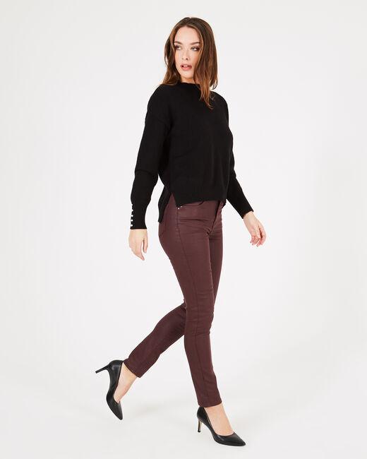 Schwarzer Pullover mit perlenverzierten Ärmeln Pearl (1) - 1-2-3