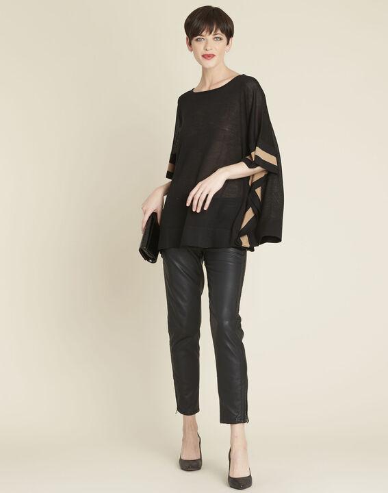 Poncho noir en laine mélangée Bettina (2) - 1-2-3