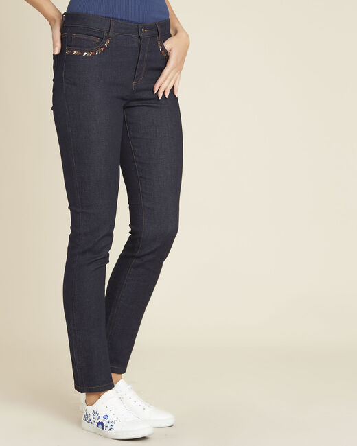 Vivienne straight-cut raw denim jeans with embroidered pockets (2) - 1-2-3