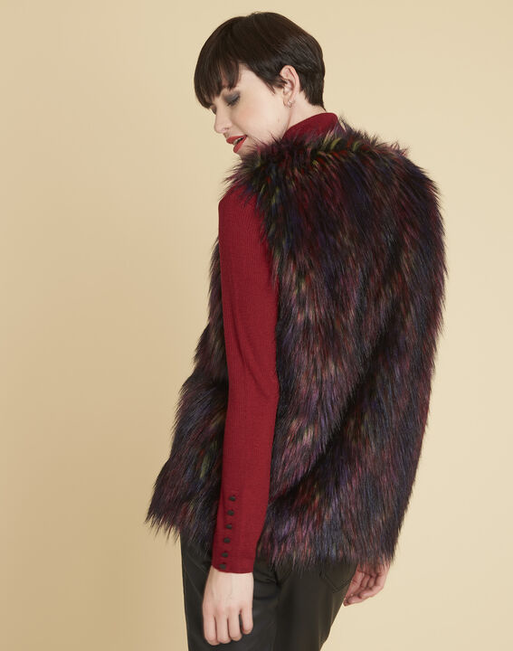 Pilou multi-coloured cardigan in faux fur (4) - 1-2-3