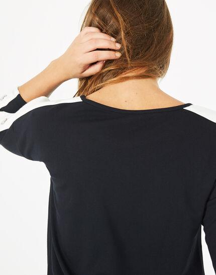 Tee shirt bleu marine manches fantaisies Bico (4) - 1-2-3