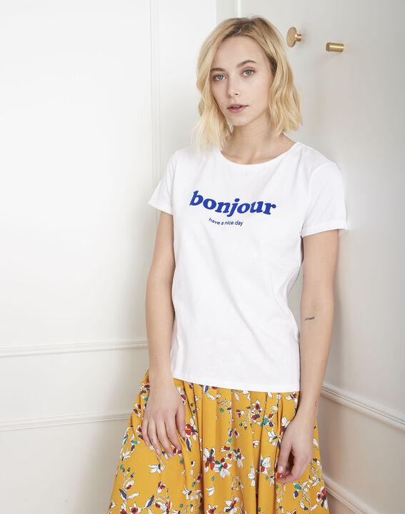 Tee-shirt blanc bonjour Pleasure (2) - Maison 123