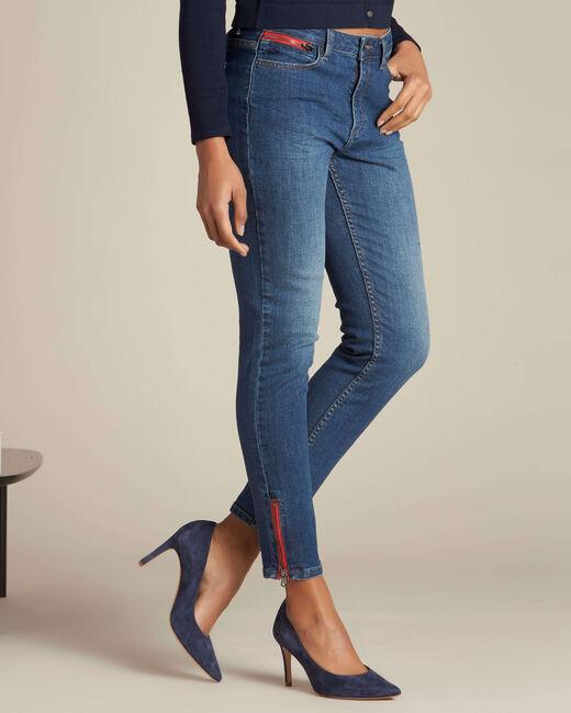 Donkerindigo slim fit jeans met ritsen Vendôme (2) - 37653