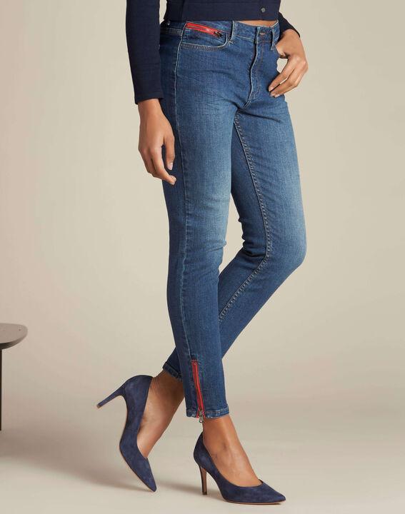 Dunkelblaue Slim-Fit-Jeans mit Reißverschlüssen Vendome (3) - 1-2-3