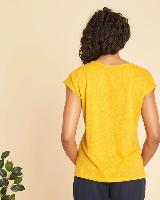 Emireille yellow linen T-shirt with stud motifs  (2) - 1-2-3