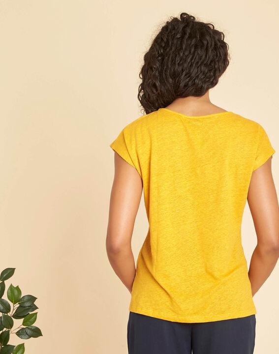 Emireille yellow linen T-shirt with stud motifs  (3) - 1-2-3