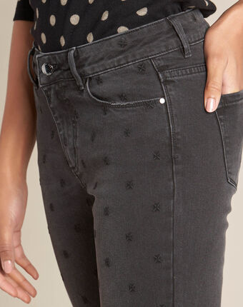 Vendôme 7/8 length grey jeans with embroidery black.