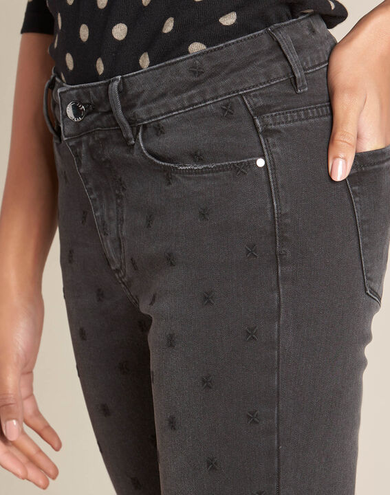 Vendôme 7/8 length grey jeans with embroidery PhotoZ | 1-2-3