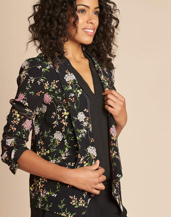 Carambole black printed jacket with shawl collar black.