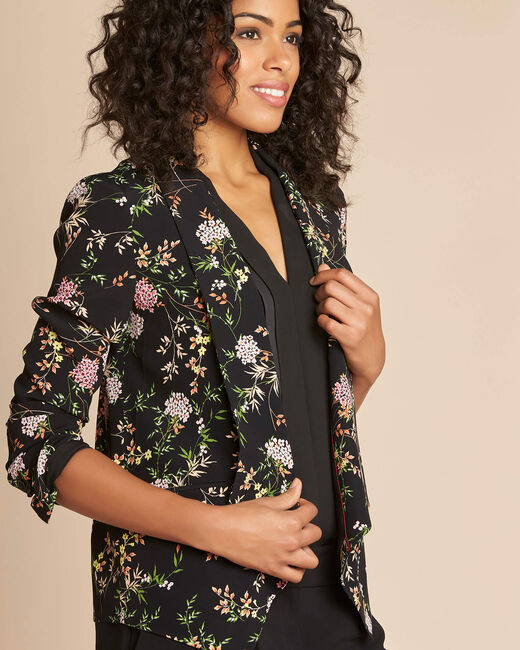 Carambole black printed jacket with shawl collar (1) - 1-2-3