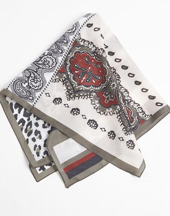 Nude zijde hoofddoek met dierenprint en grafische print Famy (1) - 37653