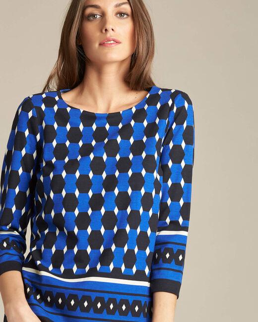 Marineblauwe blouse met grafische print Evita (2) - 37653
