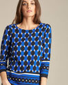 Evita block navy blue blouse with graphic print (1) - 1-2-3