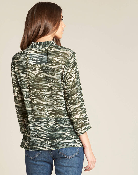 Khakifarbene Bluse mit Camouflage-Print Bianca (4) - 1-2-3