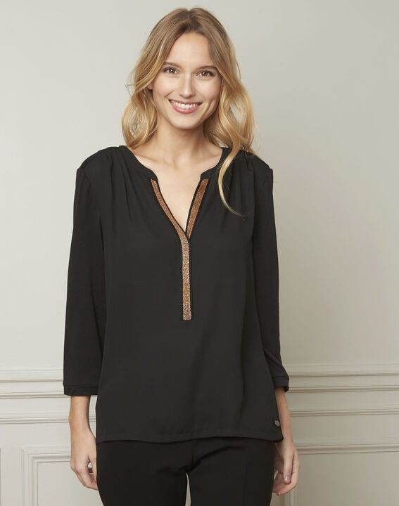 Vassilia henley collar black lurex blouse PhotoZ | 1-2-3