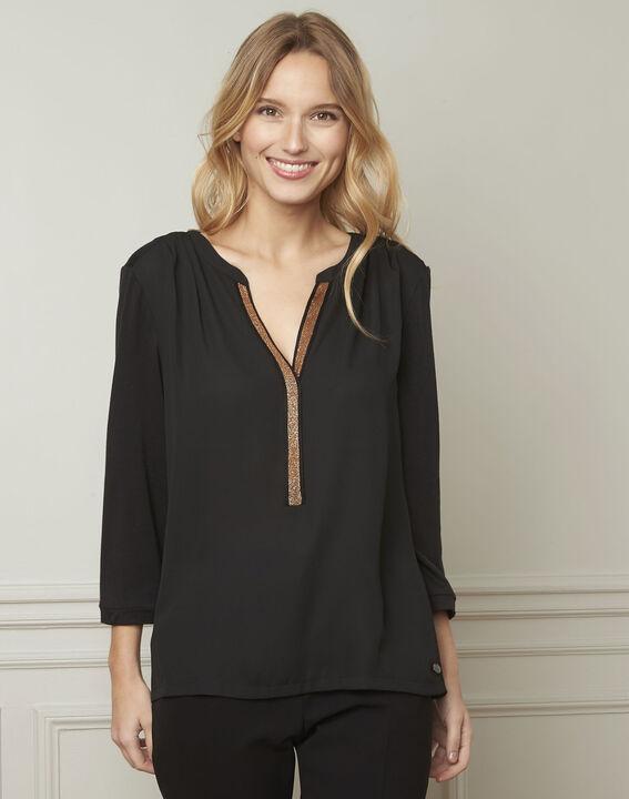Zwarte blouse met Tunesische kraag van lurex Vassilia (1) - Maison 123