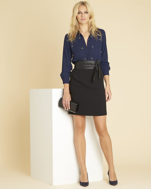 Nora navy blue dual-fabric dress with jewelled detailing (2) - 1-2-3