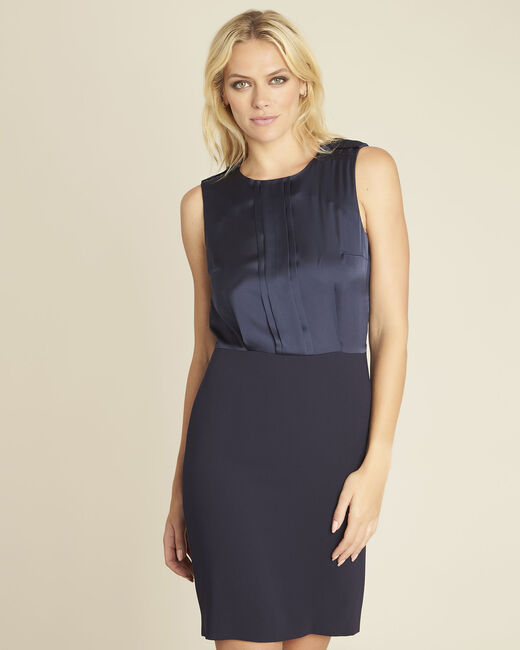 Djen navy blue dual-fabric dress with jewelled shoulders (2) - 1-2-3