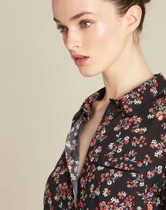Davis black shirt with floral print black.