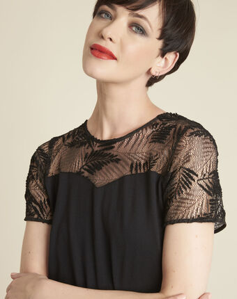 Glamour black t-shirt with lace at the neckline black.