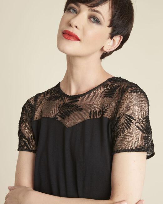 Tee-shirt noir encolure dentelle Glamour (1) - 1-2-3