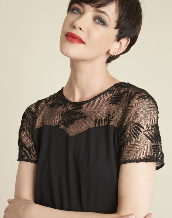 Glamour black T-Shirt with lace at the neckline (2) - 1-2-3