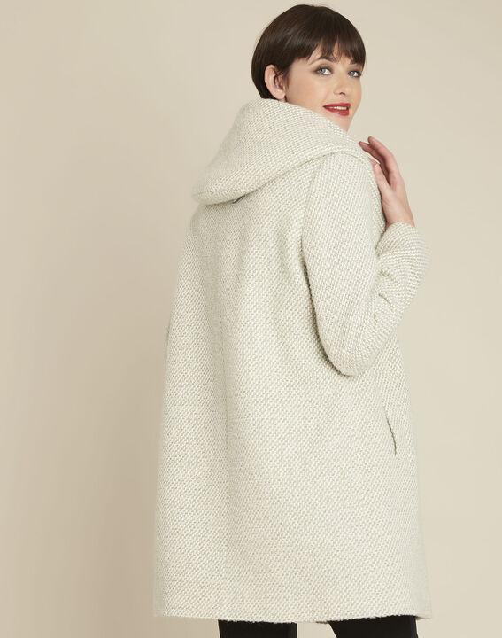 Ecrufarbener Mantel mit Kapuze aus Wollgemisch Edwin (4) - 1-2-3