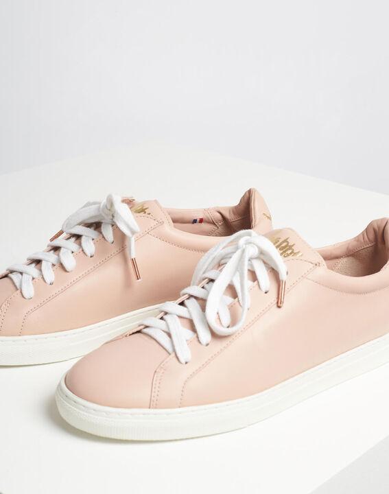 Puderfarbene Leder-Sneakers mit goldenem Siebdruck Kennedy (4) - 1-2-3