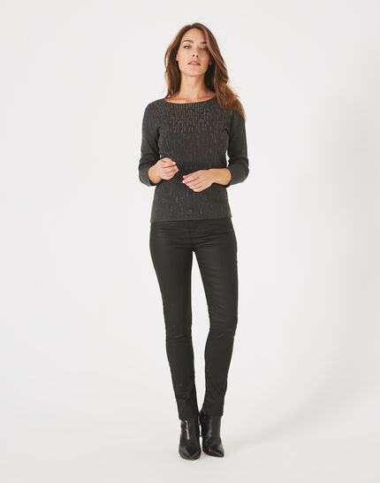 Pluie charcoal sweater with diamanté detailing and rounded neckline PhotoZ | 1-2-3