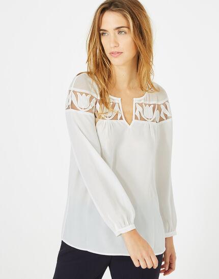 Delcia ecru blouse with petal detailing (2) - 1-2-3
