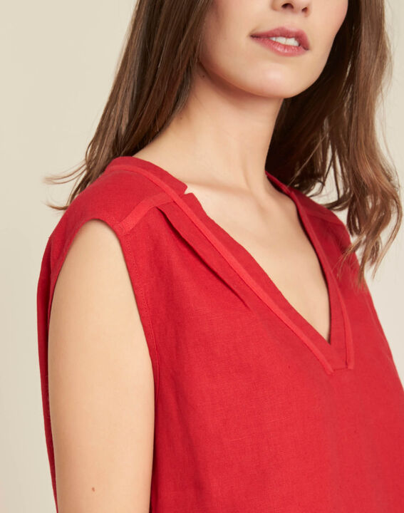 Gally red linen T-shirt with lacing PhotoZ | 1-2-3