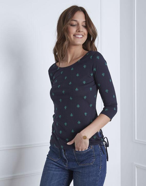Marineblaues T-Shirt bestickt Knoten Perla PhotoZ | 1-2-3
