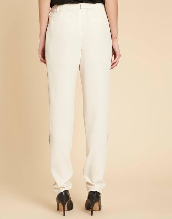 Pantalon écru fluide à bandes noires Douglas (4) - 1-2-3