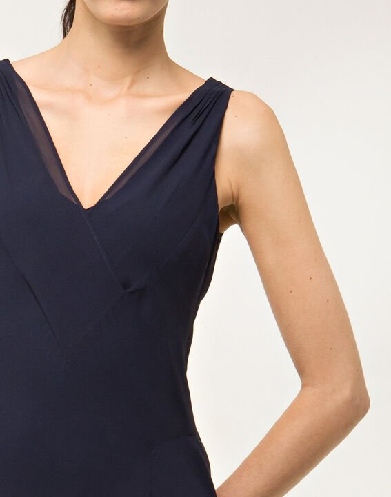 Robe bleue mi-longue en soie Foret (5) - 1-2-3