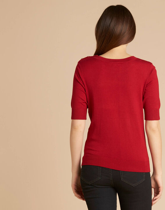 Pull rouge col rond Natacha (4) - 1-2-3