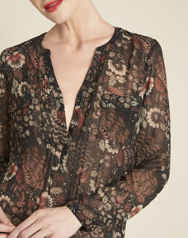 Roma black floral printed blouse (2) - 1-2-3