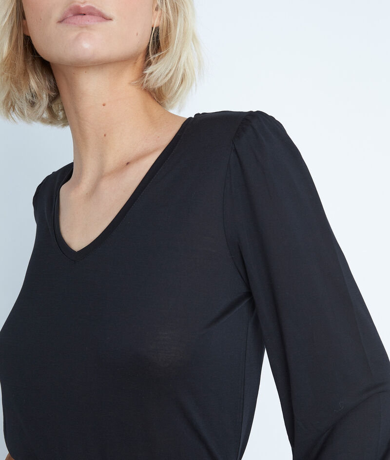 Tee-shirt en lyocell noir Ebony PhotoZ | 1-2-3