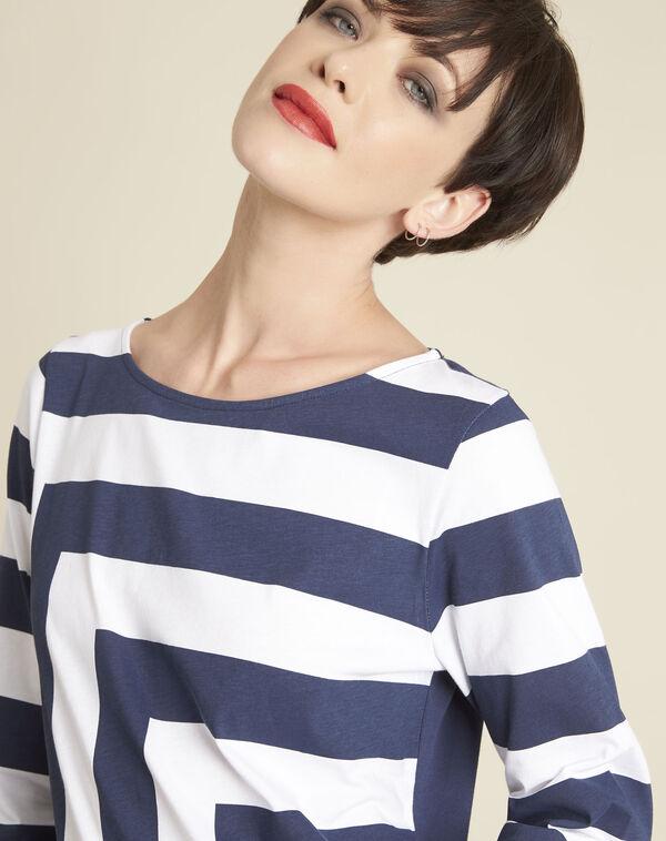 Tee-shirt blanc à rayures Galinette (2) - 1-2-3