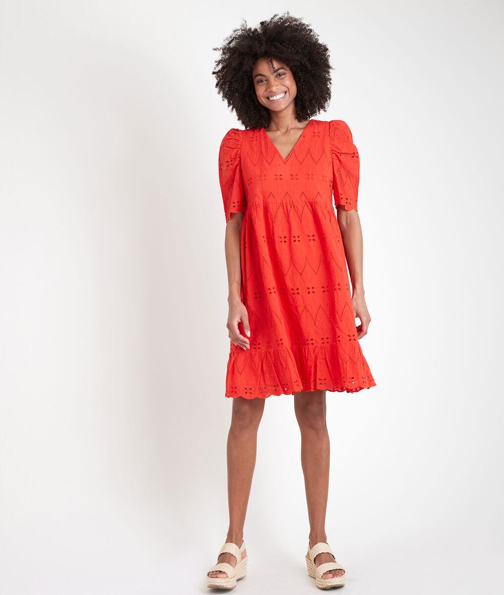 Robe courte corail en coton biologique brodé Lamie PhotoZ   1-2-3