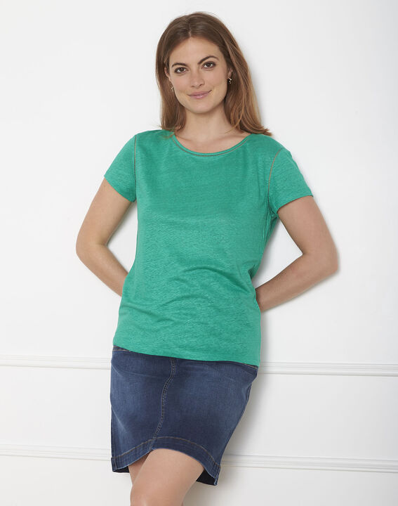 Tee-shirt vert jour échelle en lin Pin (2) - Maison 123