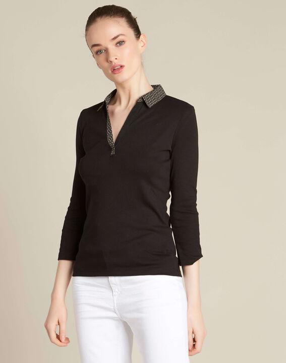 T-shirt noir col chemisier contrasté Bowling (3) - 1-2-3
