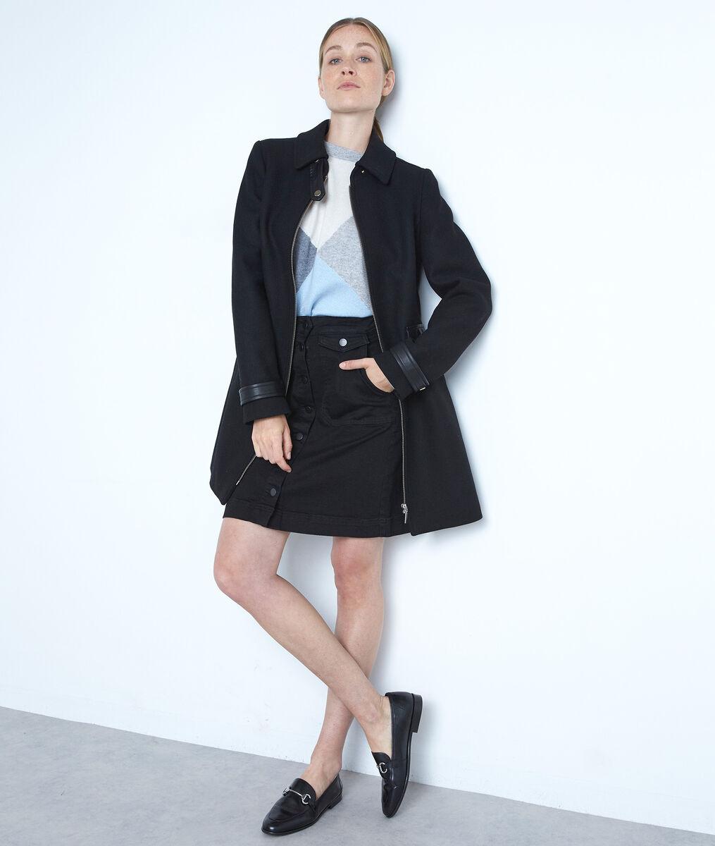 Jupe boutonnée en coton noire Ambre PhotoZ   1-2-3