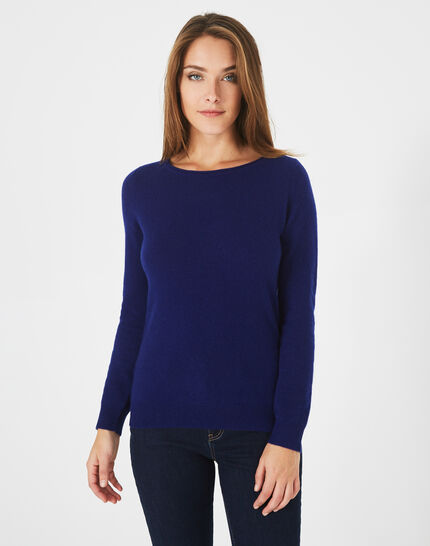 Petunia ink blue cashmere sweater with round neck (2) - 1-2-3