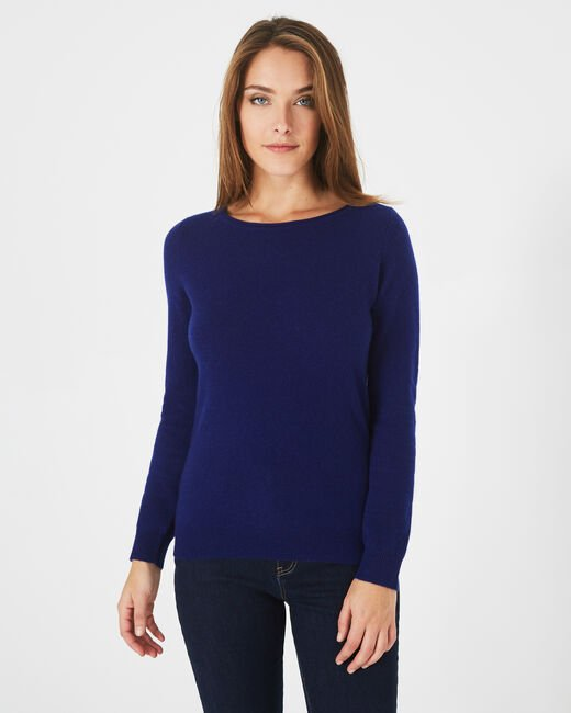 Petunia ink blue cashmere sweater with round neck (1) - 1-2-3