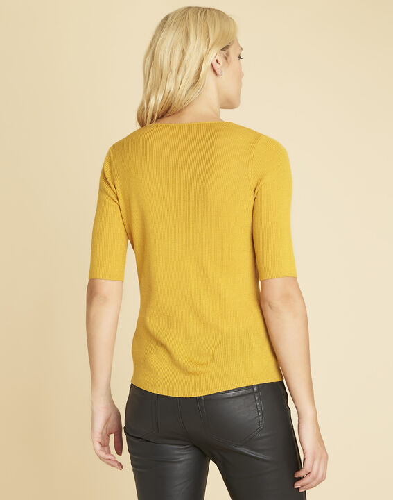 Basso ochre fine-knit sweater with buttoned neckline (4) - 1-2-3