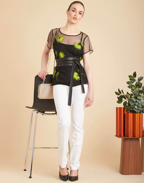 Tee-shirt noir transparent brodé fleurs Garden Hypnose (2) - 1-2-3