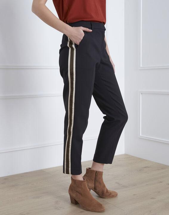 Pantalon noir cigarette bande latérale Golden PhotoZ | 1-2-3
