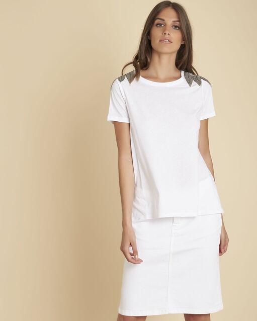 Tee-shirt blanc épaules brodées Epique (1) - 1-2-3